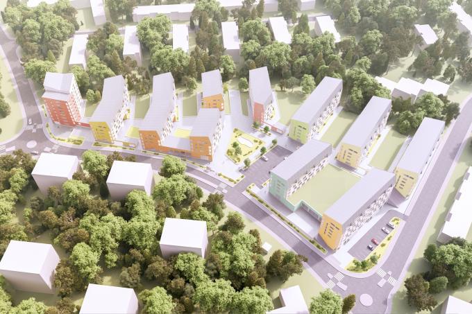 Havainnekuva ostoskeskuksen alueen tulevaisuudesta. Kuva: Pohjola Rakennus Oy Uusimaa, L Arkkitehdit Oy