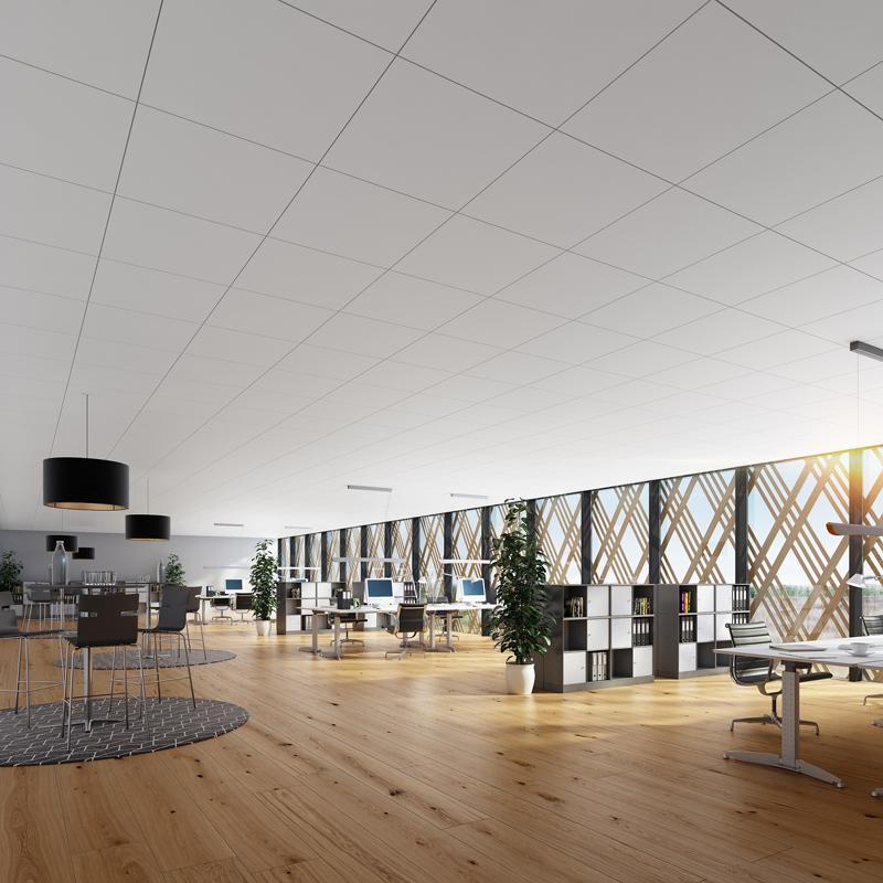 Havainnekuva toimistoympäristöstä, jossa on Rockfon Blanka -katto