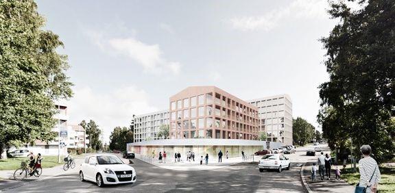 Havainnekuva Kulosaaren ostoskeskuksen alustavista suunnitemista. Kuva: Arkkitehdit Rudanko + Kankkunen Oy