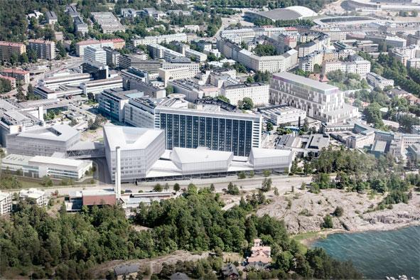 Havainnekuva neljästä nelikulmion muotoisesta osasta rakentuvan Siltasairaalan sijoittumisesta Tornisairaalan ja Paciuksenkadun väliin. Kuva: HUS-TIlakeskus